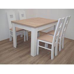Biały zestaw Stół S-44 80/120 do 165 + 4 krzesła K-42