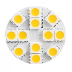 Żarówka LED G4 12 LED SMD 5050 12V 28mm biała ciepła pin tył