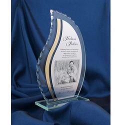 Trofeum szklane - LISTEK BIG z fotografią plus laminat grawerski - Podziękowanie dla rodziców