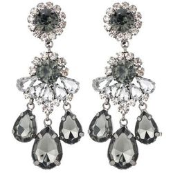 sweet deluxe BURGAS Kolczyki gunmetal/black diamond/crystal