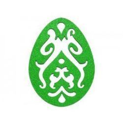 Dekoracja z filcu PISANKA AŻUR duża (III) zielona - 1 SZTUKA