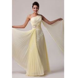 Pastelowo żółta suknia na jedno ramię | Suknie na studniówkę wesele, dla druhen
