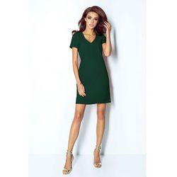 7d8da0f6 Zielona Sukienka Trapezowa Mini z Dekoltem V