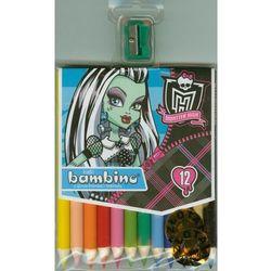 Kredki Monster High drewniane 12 kolorów z temperówką
