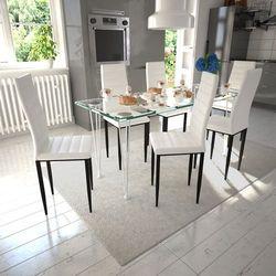 vidaXL 6 wysokich, białych krzeseł do jadalni + stół ze szklanym blatem Darmowa wysyłka i zwroty