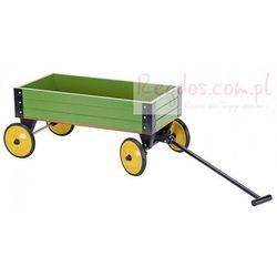 Zielony, drewniany wózek do ciągnięcia