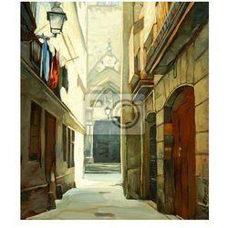 Fototapeta ulicy w Dzielnicy Gotyckiej, ilustracja, malarstwo