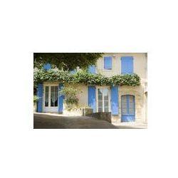 Foto naklejka samoprzylepna 100 x 100 cm - Francuski wsi domek z niebieskim okiennice Provence Francja