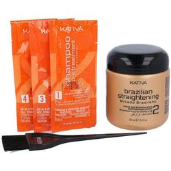 Kativa Brazilian Straightening Keratin & Argan Oil Kit W Kosmetyki Zestaw kosmetyków 100ml Brazilian Straightening + 15ml Pre Treatment Shampoo + 15ml Shampoo + 15ml Conditioner + Applicator