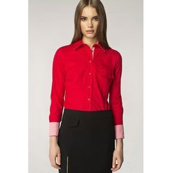 Czerwona Elegancka Koszula z Wstawkami w Kratkę