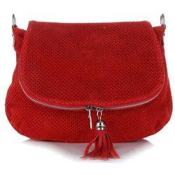 7b3fcddc42bf0 Włoskie Ażurowane Torebki Skórzane Listonoszki firmy Genuine Leather  Czerwona (kolory)