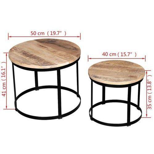 Dwa Stoliki Kawowe Z Surowego Drewna Mango Okrągłe 40 I 50