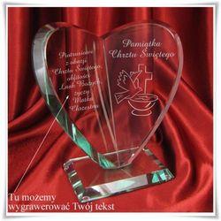 Statuetka szklana Serce na Chrzest z możliwością grawerowania