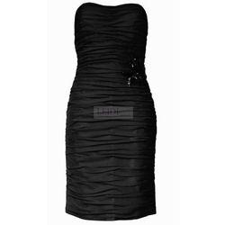 Klasyczna drapowana sukienka z szyfonu Arena Stylu, czarna 924 -6