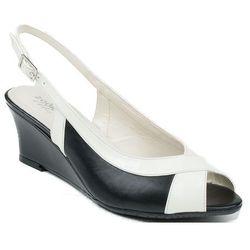 005E Zodiaco sandały skórzane czarno - białe