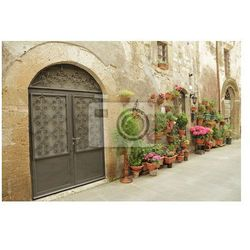 Fototapeta kute bramy i wiele kwiatów w toskańskiej wsi