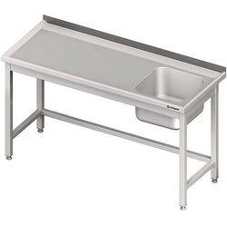 Stół ze zlewem jednokomorowym bez półki spawany STALGAST 1700x700x850 prawy