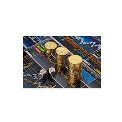 Foto naklejka samoprzylepna 100 x 100 cm - Kostka kostki z napisem sprzedam kupię, trendu wzrostowego stosy złote