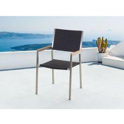 Meble ogrodowe czarne - krzeslo ogrodowe - rattanowe - balkonowe - tarasowe - GROSSETO
