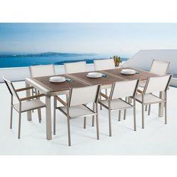 Meble ogrodowe - stół ze stali nierdzewnej 220 cm z drewnianym blatem z 8 białymi krzesłami - GROSSETO