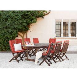 Meble ogrodowe - stół + 8 krzeseł + 8 ceglastych poduszek – MAUI