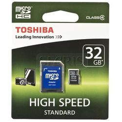 TOSHIBA microSD SDHC 32GB z adapterem - SD-C32GJ(BL3A