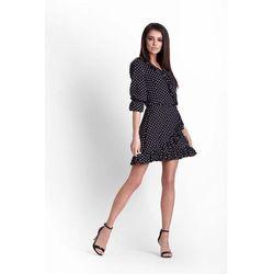 209b4267e5 Czarna Kopertowa Sukienka Przewiązana Wstążką W Talii