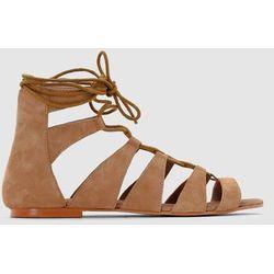 Płaskie, skórzane sandały