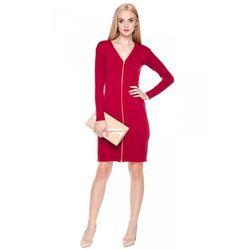 Czerwona sukienka ze złotym zamkiem - Far Far Fashion