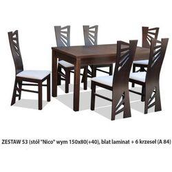 Zestaw Ares 53 Stół 80x150(+40) 6 krzeseł A84
