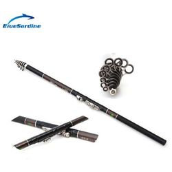 Hot 5.4M Telescopic Fishing Rods Carbon Mixture Rock Spinning Pole Fishing Tackle Free Shipping
