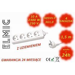 Przedłużacz elektryczny listwa bez włącznika - 1.5 mb - WS NF 04 / 1.5 / 1.0 / K - ELMIC biały