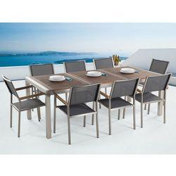 Meble ogrodowe - stół ze stali nierdzewnej 220 cm z drewnianym blatem z 8 szarymi krzesłami - GROSSETO