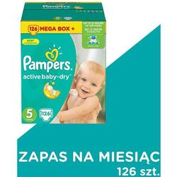 PAMPERS Active Baby-Dry Pieluchy 5 Junior 126szt Monthly Box Zapas na