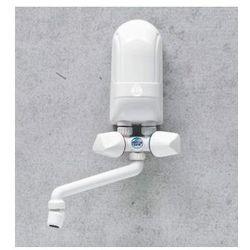 DAFI Nadumywalkowy elektryczny przepływowy podgrzewacz wody IPX5 3,7kW z białą baterią