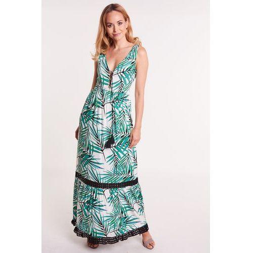 Długa sukienka we wzór zielonych liści Hailey porównaj