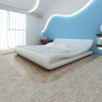 vidaXL Białe frezowane łóżko sz. skóra + materac z pianki anatomicznej wierzchni 180cm Darmowa wysyłka i zwroty