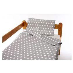 Pościel 2-el do łóżeczka 90x120 cm - Białe Kropki na Szarym