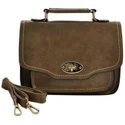 Gładka szarobrązowa torebka listonoszka z obrotowym zamkiem GREY - szarobrązowy ||szary