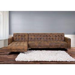 Sofa brazowa - kanapa - skórzana - rozkladana - naroznik - ABERDEEN