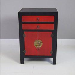 Komoda, metalowe okucia, czarno-czerwony mat, styl azjatycki.