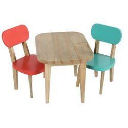 MAILEG Drewniany Stolik i krzesełka turkus/koral dla króliczka