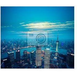 Plakat Widok z lotu ptaka Szanghaju o zmierzchu