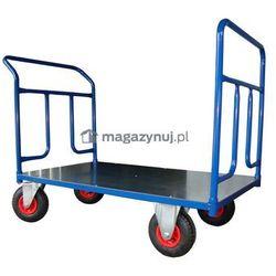 Wózek platformowy dwuburtowy, platforma z blachy. Wym. 1000x600mm (Ładowność: 300kg)