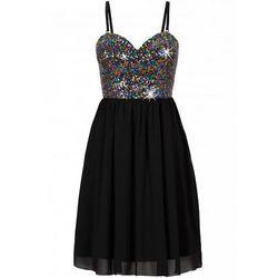 Sukienka szyfonowa z cekinami bonprix czarny
