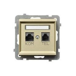 Gniazdo komputerowo - telefoniczne, MMC Ospel Sonata - Szampański Złoty - GPKT-R/K/m/39