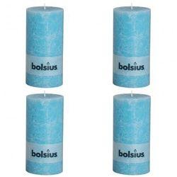 Świece rustykalne, Bolsius (200 x 100 mm) x4 niebieskie Zapisz się do naszego Newslettera i odbierz voucher 20 PLN na zakupy w VidaXL!