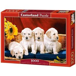 Puzzle 1000 Puppies With Sunflower