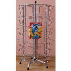Metalowy, obrotowy, sześcienny stojak na pocztówki, płyty DVD itp. - 2 rodzaje uchwytów, w kolorze srebrnym