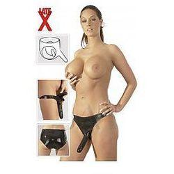 Late X Latex Panties With 2 Dildos Black Zestaw 2 dildo na uprzęży lateksowe majtki czarne